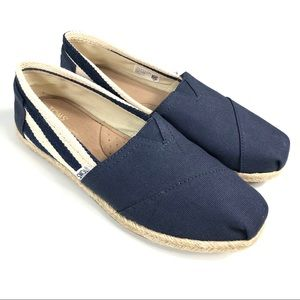 TOMS Classic Navy Stripe University Shoes Sz 10